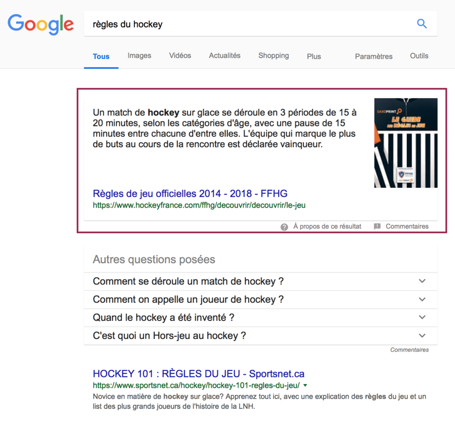 featured snippet position zero exemple