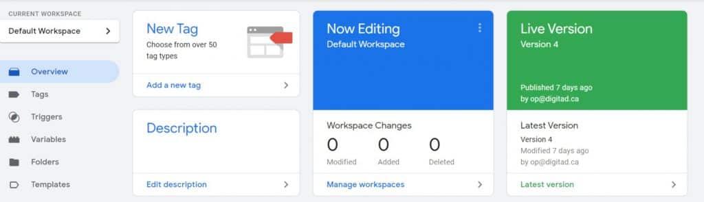 espace de travail google tag manager